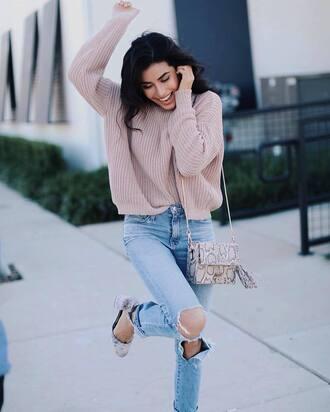 sweater tumblr beige sweater denim jeans blue jeans ripped jeans sandals sandal heels velvet bag tassel printed bag
