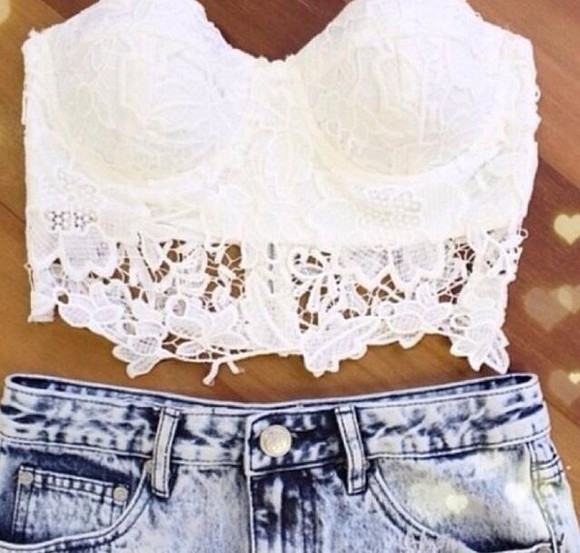 top High waisted shorts lace lacetop whitetop