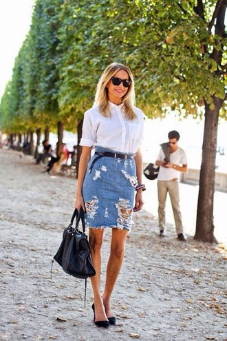 skirt denim pencil skirt ripped