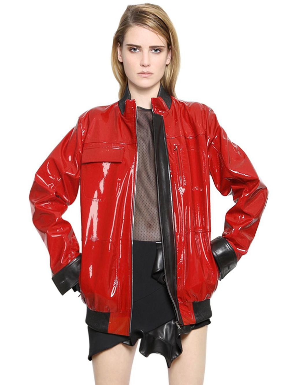 Acne Studios Velocite Shearling Moto Jacket Red