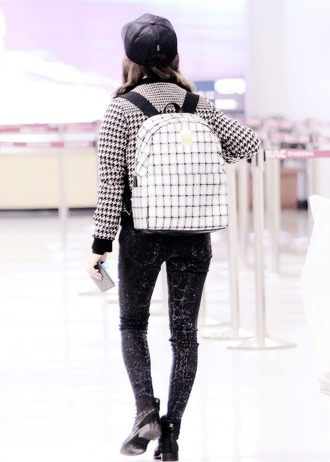 bag backpack black and white squares rectangle kfashion korean fashion white backpack