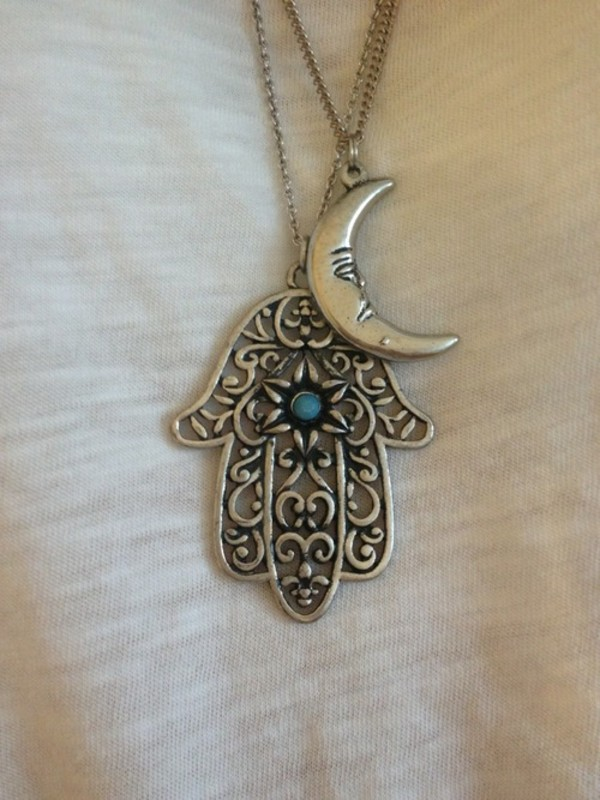 jewels necklace silver pendant moon crescent hand jewelry hamsa hand jewelry hamsa protection hamsa necklace hamsa hand necklace silver jewelry