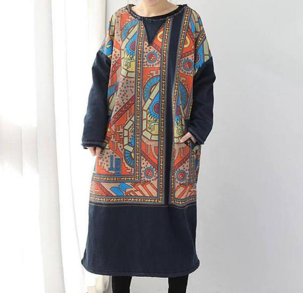 dress winter denim dress maxi dress