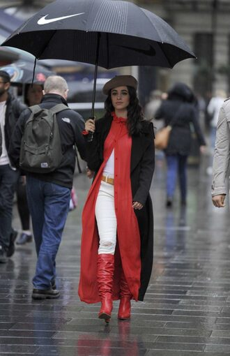 dress boots red dress red jeans hat camila cabello fall outfits streetstyle