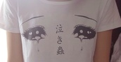 t-shirt,swag,yolo,hipster,tumblr,love,shirt,white,face,cool,pretty,kawaii,eyes,indie,top,crop tops,tears,drops,manga,cartoon eyes,japanese,japan,tumblr clothes,cute,sad,blouse,pretty eyes,anime,glimmer,sweet,lovely,it's so adorable,black,white t-shirt,white shirt,hentai,dope,grunge,urban,amazing,chinese,black and white,anime eyes,crewneck,ahirt,wyes,eye,tricot,basic shirt,basic,asian,polyester,kawaii grunge,white dress,chinese writing,japanese writing,hippie,hipster punk,punk,pop punk,rock,soft grunge,grunge crop top,soft grunge top,tumblr outfit,tumblr girl,tumblr shirt,cute shirts,quirky,all time low,pierce the veil,sparkly top,vintage,girl,spring,bucket hat,cute dress