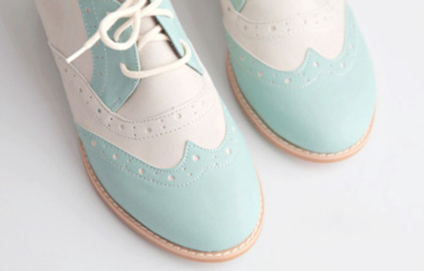 Shoes: bowling, retro, vintage, blue, white, pastel, cute, lovely ...