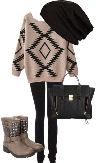 sweater graphic tee print knit chunky fall outfits beanie bag shoes
