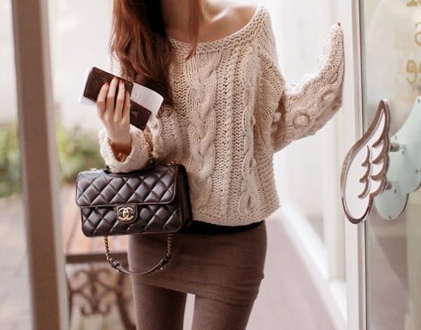 shirt skirt chanel pullover bag chanel bag
