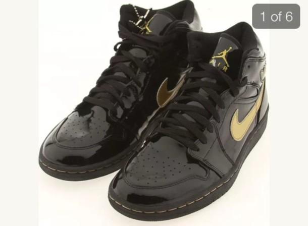 brand new 9d170 f7c96 jordans nike sneakers sneakerhead gold shoes black shoes black sneakers  patent leather leather leather shoes leather
