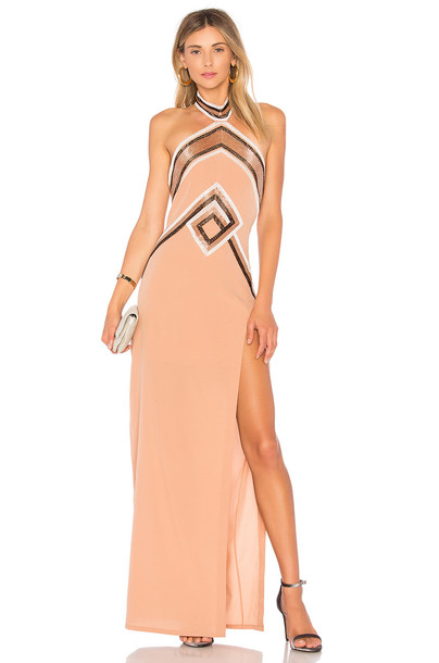 X BY NBD gown tan dress