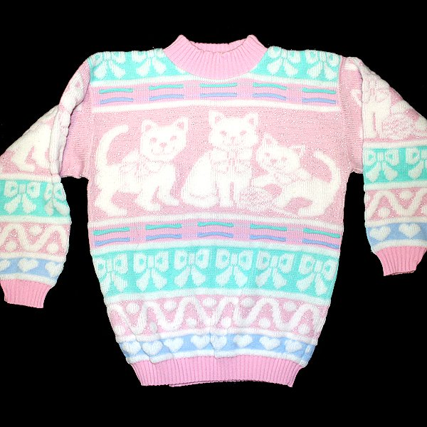 Vintage 80s Acrylic Sparkle Kitty Cat Tacky Ugly Sweater Women's Size Medium (M)