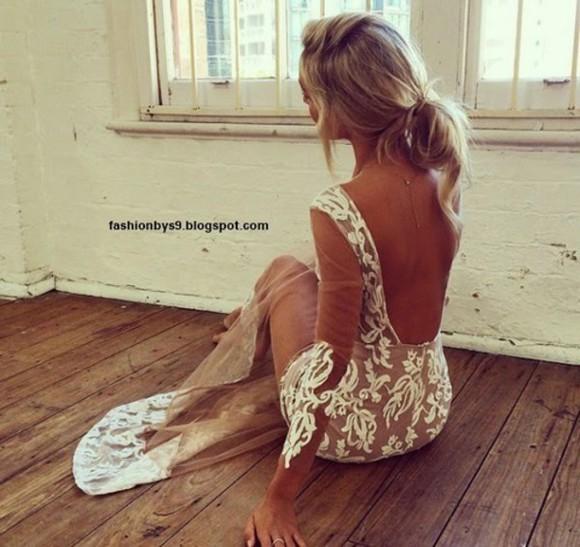 nude dress lace dress white dress
