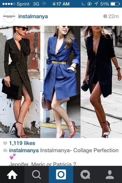 dress blue dress classy fashion style instagram clothes outfit tuxedo blazer trendy