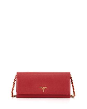 Prada Saffiano Wallet on a Chain, Red (Fuoco)