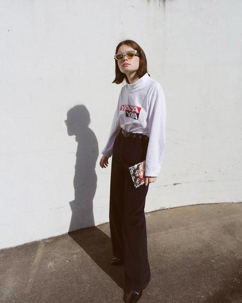 top tumblr white top turtleneck pants black pants wide-leg pants sunglasses blogger double3xposure