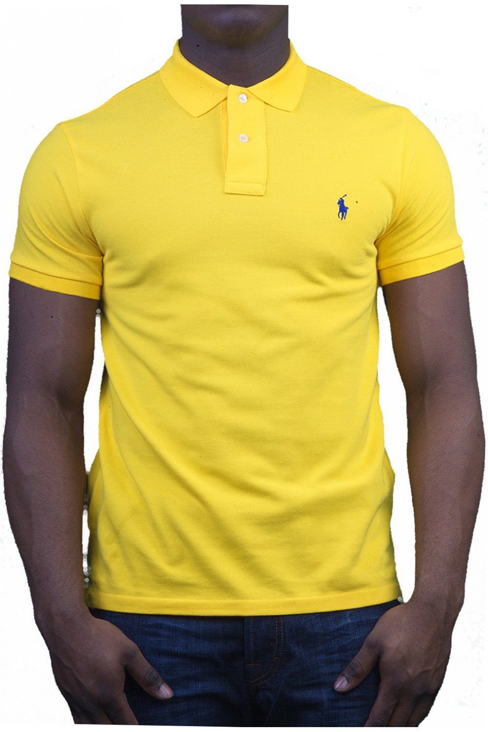 Polo ralph lauren slim fit polo t shirt in yellow for Slim fit collared shirts