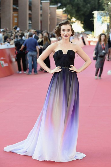 dress prom dress gown lily collins red carpet dress