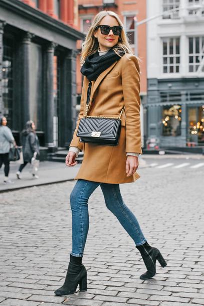coat tumblr camel camel coat bag black bag denim jeans blue jeans boots black boots ankle boots sunglasses scarf