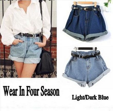 Loose Fit High Waist Jean Denim Shorts,Free Belt