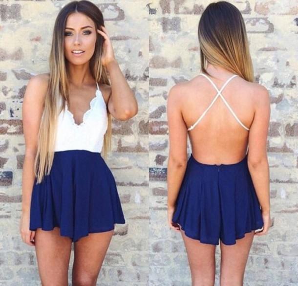 Cute hot blue jumpsuit romper