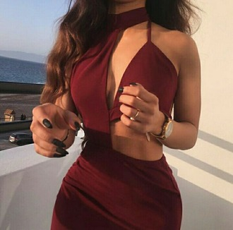 dress burgundy party party dress asymmetrical asymmetrical dress sexy sexy dress sexy party dresses cute cute dress girly girly dress summer dress summer outfits spring spring dress prom dress graduation dress beautiful bodycon bodycon dress halter dress clubwear club dress date outfit birthday dress trendy style dope cool cut-out dress
