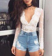 top,bodysuit,lace,lacebodysuit,lace top,lace bodysuit,white,white top,plunge v neck