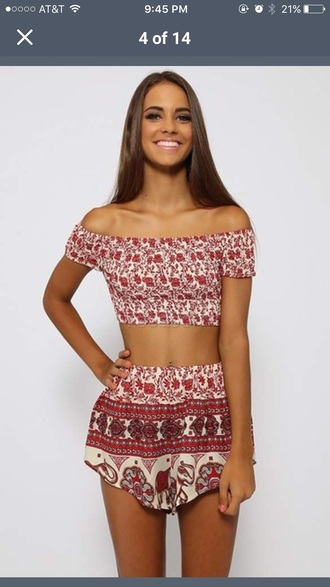 jumpsuit boho tribal pattern two-piece off the shoulder