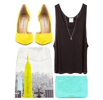 yellow necklace high heels black shirt bag turquoise urban outfitters beautiful pretty jewels skirt shoes