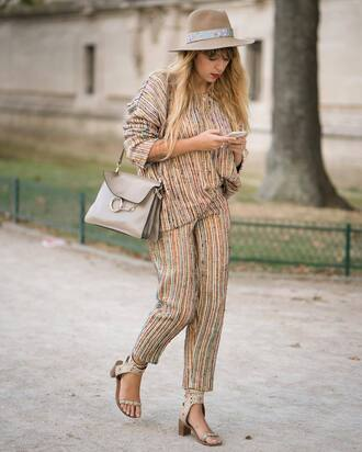 pants french girl hat stripes striped pants striped top sandals mid heel sandals bag grey bag
