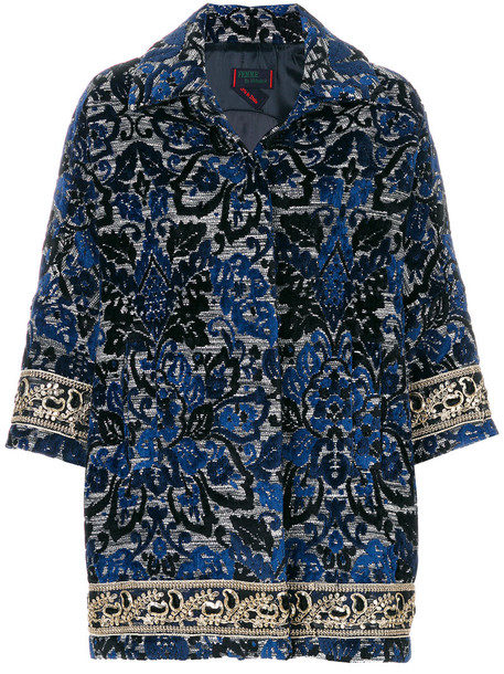 Femme By Michele Rossi coat floral coat embroidered women floral cotton blue wool