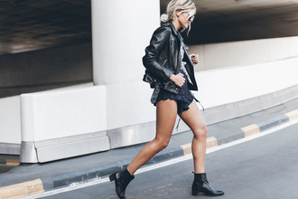 mikuta blogger shorts ruffle black leather jacket chelsea boots