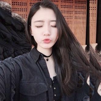 shirt black cool pale korean fashion