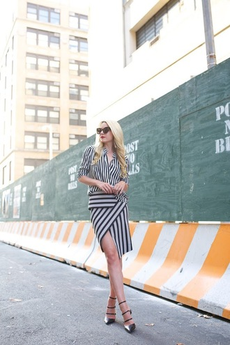 atlantic pacific blogger striped shirt striped skirt asymmetrical skirt stripe shirt shirt skirt midi skirt asymmetrical stripes sunglasses cat eye sandals sandal heels high heel sandals