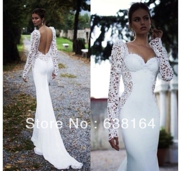 Sexy Backless Long Sleeves White Chiffon Lace Beach Floor Length Weddings&Events Wedding Dress Bridal In Prom Gown 2014-in Wedding Dresses from Apparel & Accessories on Aliexpress.com