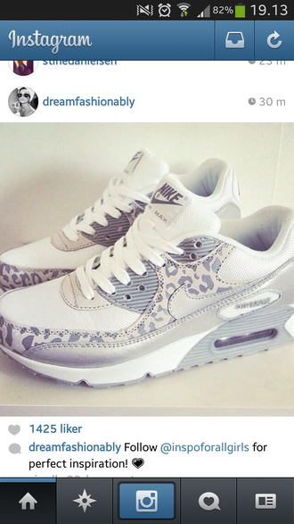 shoes nike leopard print grey metallic air max air max 90 nike air max 90