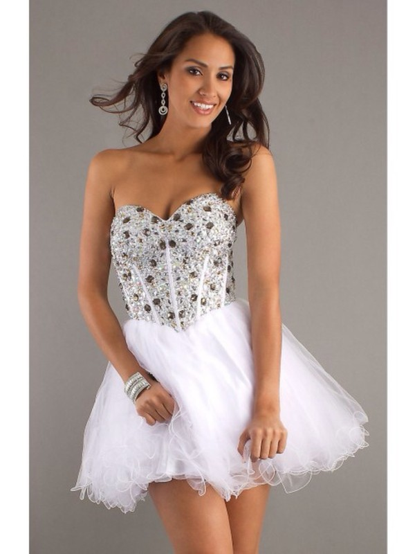 dress white dress white diamonds cute prom dress prom short dress short prom dress lovely
