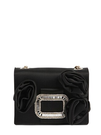 rose clutch silk satin black bag