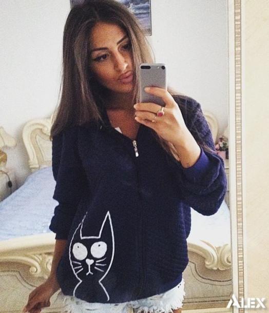 jacket zefinka underwear 36683 zip up hoodie hoodie zip up outerwear spring fall outfits comfy cats cat print