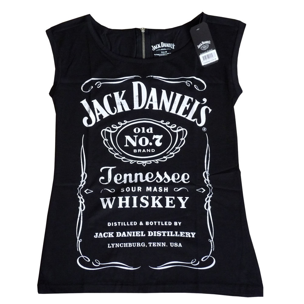Jack Daniels Official Women Zipped Back Sleeveless Punk Style Grunge Shirt | eBay