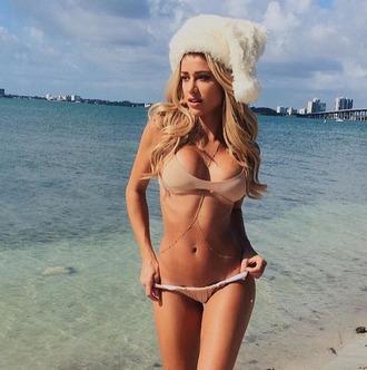 swimwear perfect peach bikini nude tan white reversible designer swimsuit swimwear set designer set cheeky