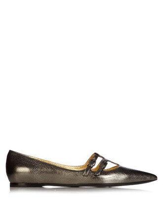 ballet flats ballet flats leather silver shoes