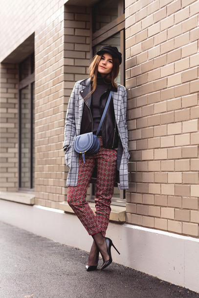 the fashion fraction blogger coat jacket sweater pants hat shoes bag