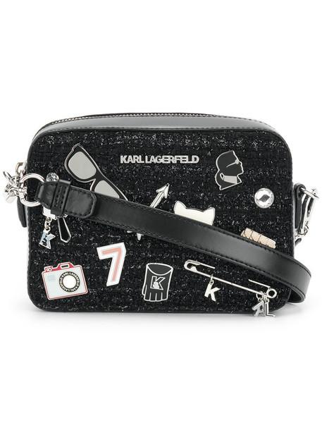 karl lagerfeld women bag leather black wool