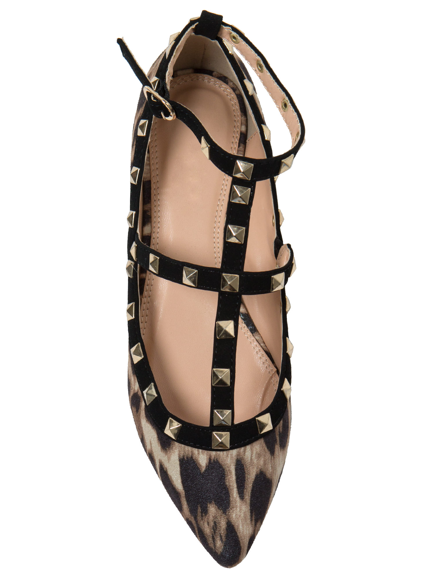Point taken studded flats leopard nude black