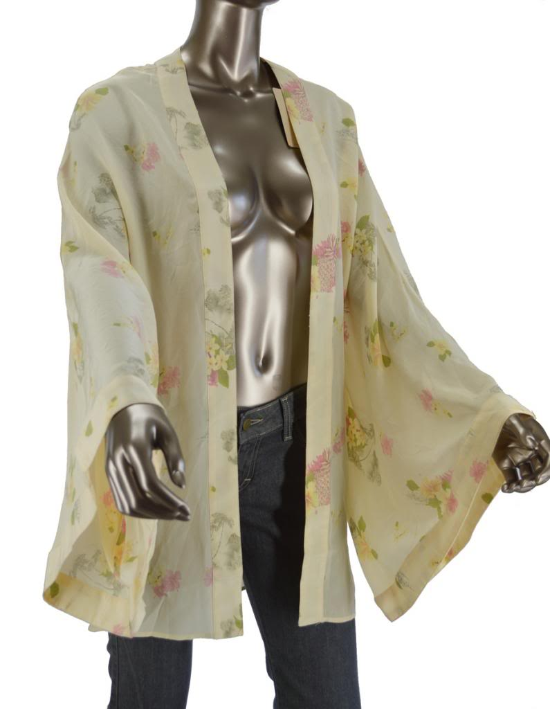 One Teaspoon Beige Floral Hawaian Silk Kimono Sz4 Planet Blue Retail $ 319 | eBay