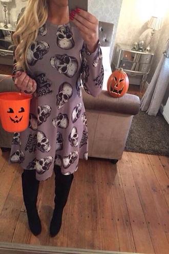 dress halloween grey dress skull