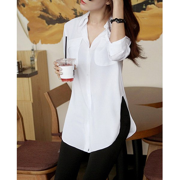 Solid color slit side design long sleeve turn down collar single breasted blouse for women