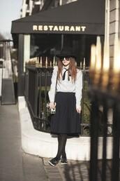 elodie in paris,blogger,hat,slip on shoes,pleated skirt,white shirt,shoulder bag,black hat