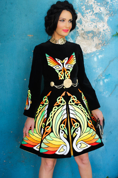 coat ethno ethnic folk dress swan black embroidered dress