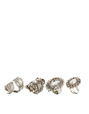 New Look | New Look Glam Pearl Ring Pack at ASOS